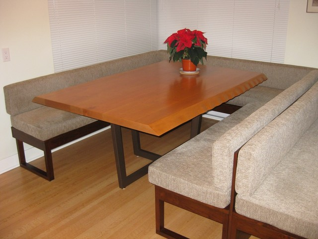 live edge dining table with custom bench seating