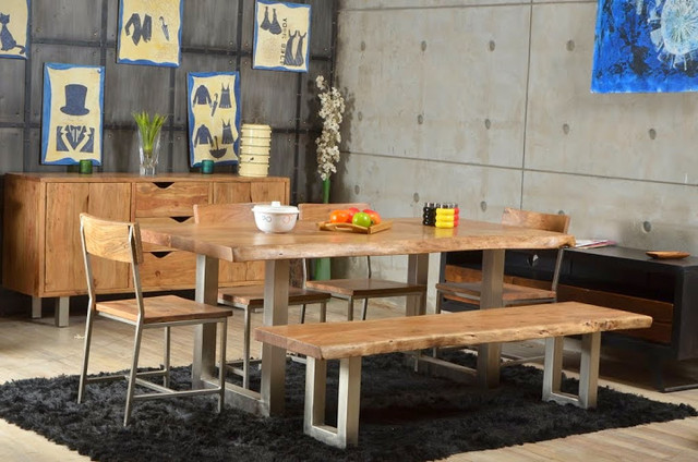 Live edge single slab modern rustic industrial iron base dining table