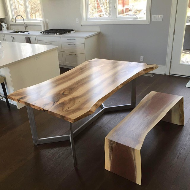 Kitchen Bench Waterfall Edge: Live Edge Walnut Dining Table With A Waterfall Bench