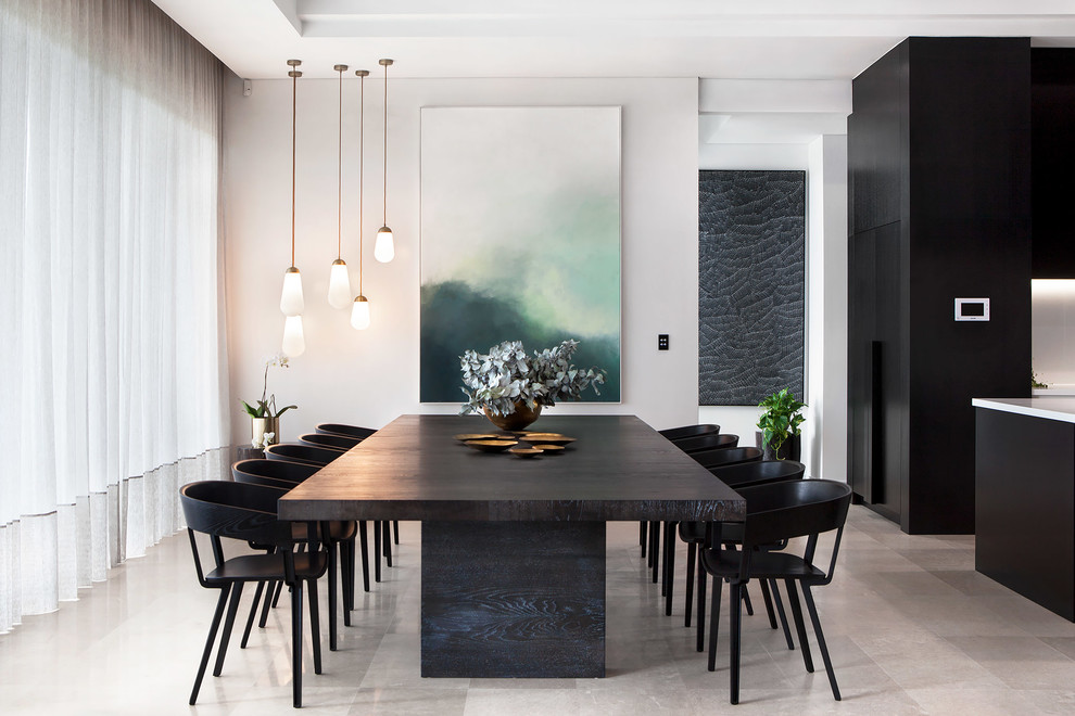 Design ideas for a modern open plan dining room in Perth with grey walls and grey floors.
