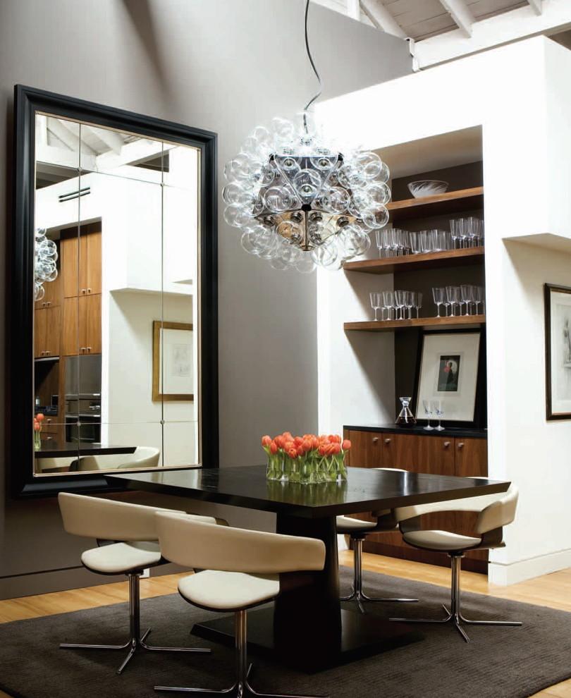 Dining room - contemporary light wood floor dining room idea in Atlanta with gray walls