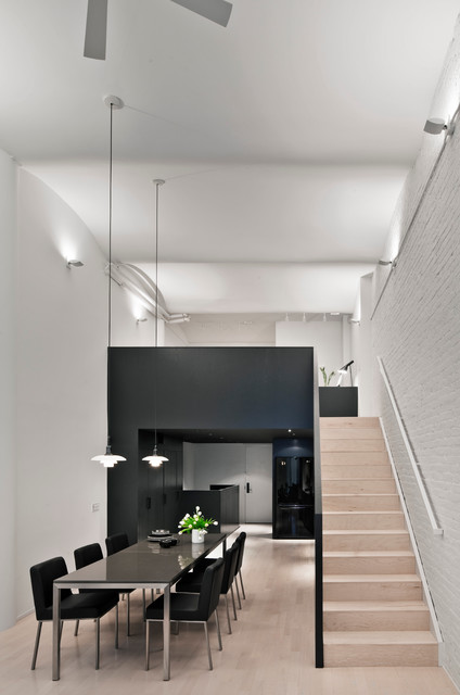 Loft for a Writer and a Painter modern-dining-room