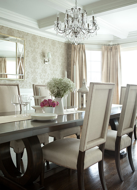 Long island home transitional dining room new york for Fancy dining room sets