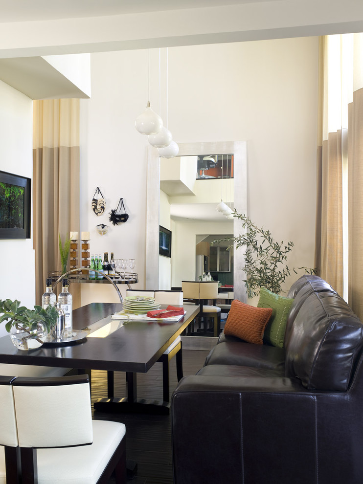 Great room - modern great room idea in Los Angeles with white walls