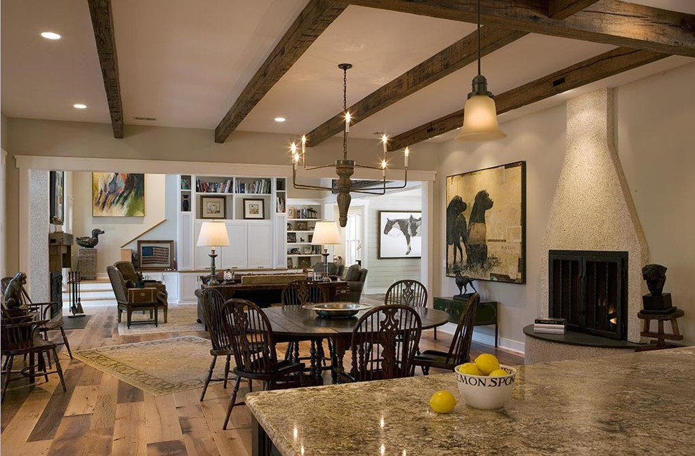 Example of a mountain style brown floor dining room design in Charleston