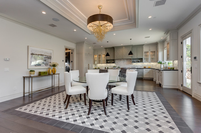 Inspiration for a transitional kitchen/dining room combo remodel in Los Angeles with white walls