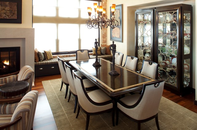 Example of a transitional dining room design in Minneapolis