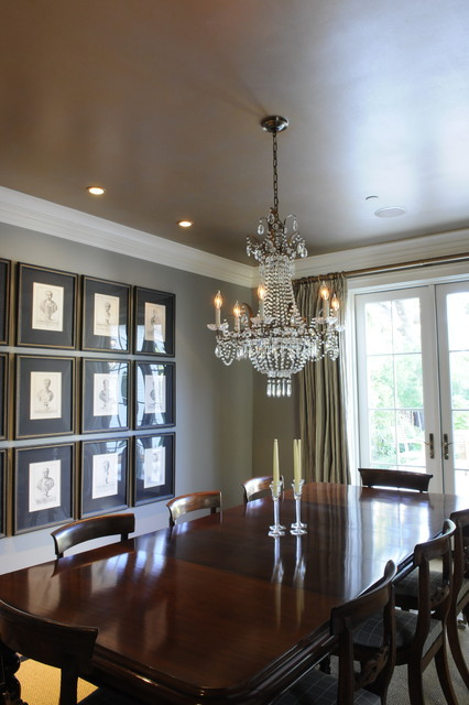 Luxurious gold and silver painted dining room ceiling traditional