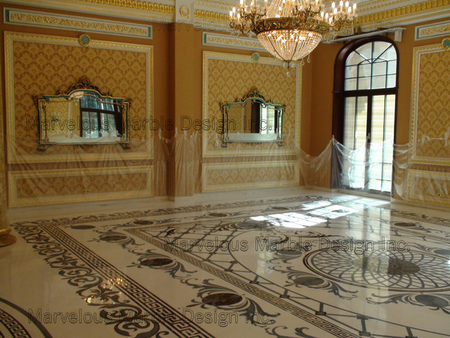Luxury custom marble floor for Dining room tile floor designs