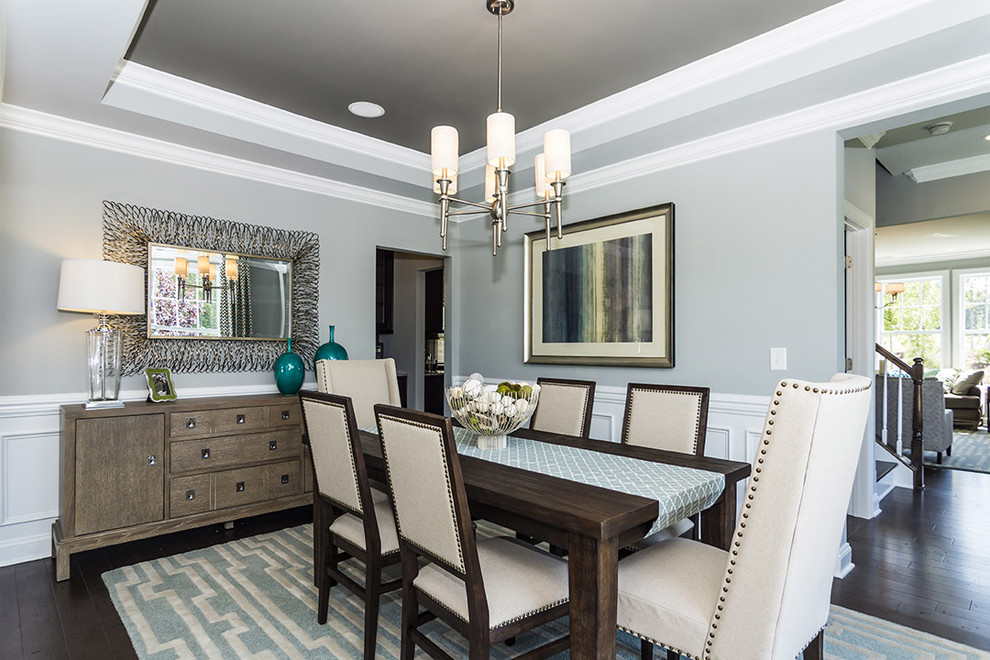 Inspiration for a timeless dark wood floor dining room remodel in Raleigh with gray walls