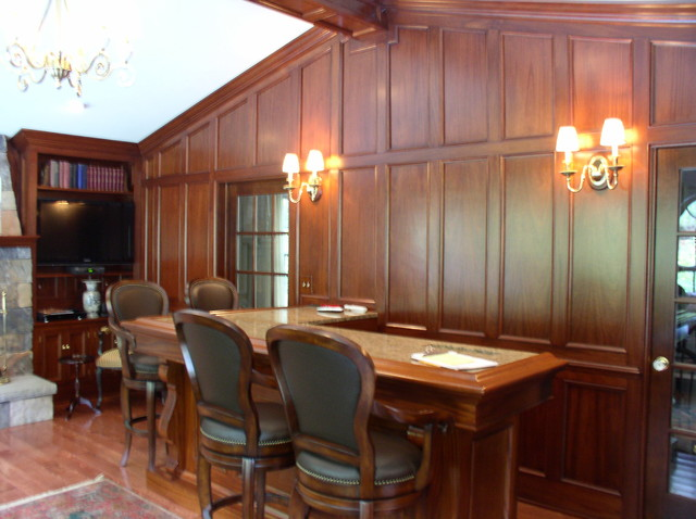 mahogany wall panels traditional dining room other by carriage barn custom builders. Black Bedroom Furniture Sets. Home Design Ideas