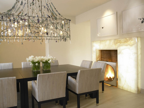 Fireplace white onyx back lit crocodile rocks for Houzz dining rooms contemporary