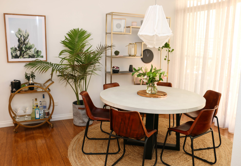Small urban light wood floor and brown floor great room photo in Sydney with white walls