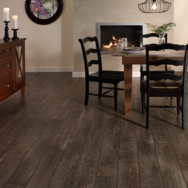 Mountain Style Vinyl Floor Dining Room Photo In San Francisco With Beige Walls