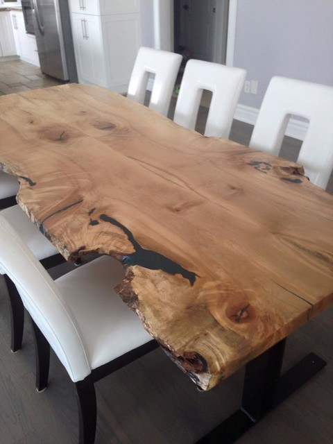Maple Live Edge Wood Slab Table Harvest Table Craftsman Dining Room Toronto By Tree
