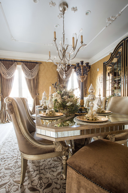 Marge Carson Dining Room with Holiday Table Setting - Traditional - Dining Room - chicago - by ...