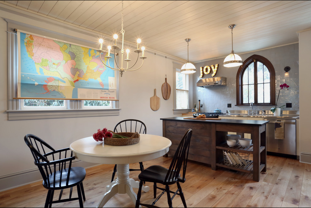 Inspiration for a small eclectic medium tone wood floor kitchen/dining room combo remodel in Portland