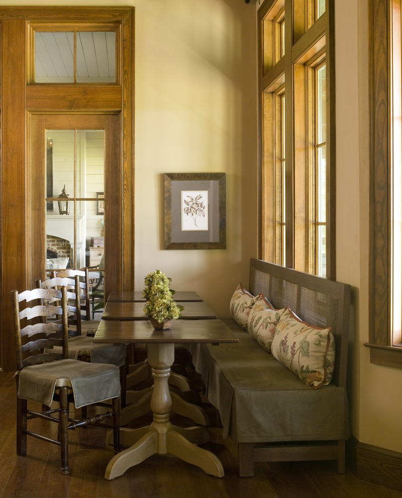 Inspiration for a farmhouse dark wood floor dining room remodel in Atlanta with beige walls