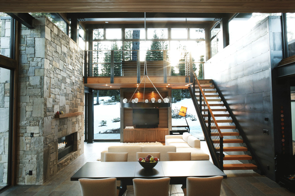 Example of a mountain style great room design in San Francisco