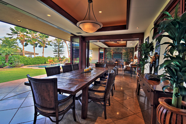 Inspiration for a tropical dining room remodel in Hawaii