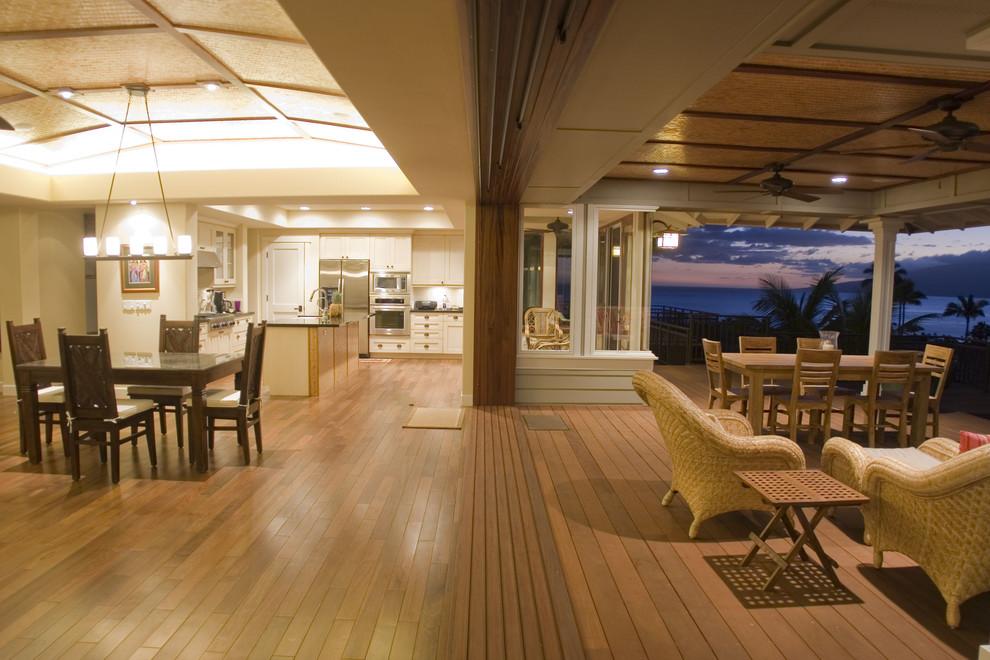 Great room - tropical great room idea in Hawaii