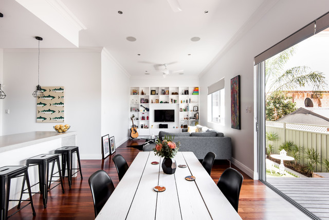 Photo of a contemporary dining room in Perth with white walls, dark hardwood floors and no fireplace.