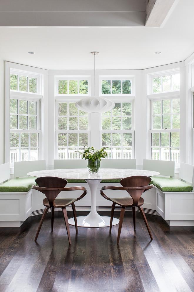 Small transitional dark wood floor dining room photo in Boston