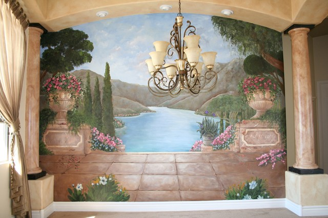Mediterranean and tuscan murals mediterranean dining for Dining room wall murals