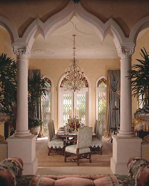 Mediterranean formal dining room for Dining room designs with pillars