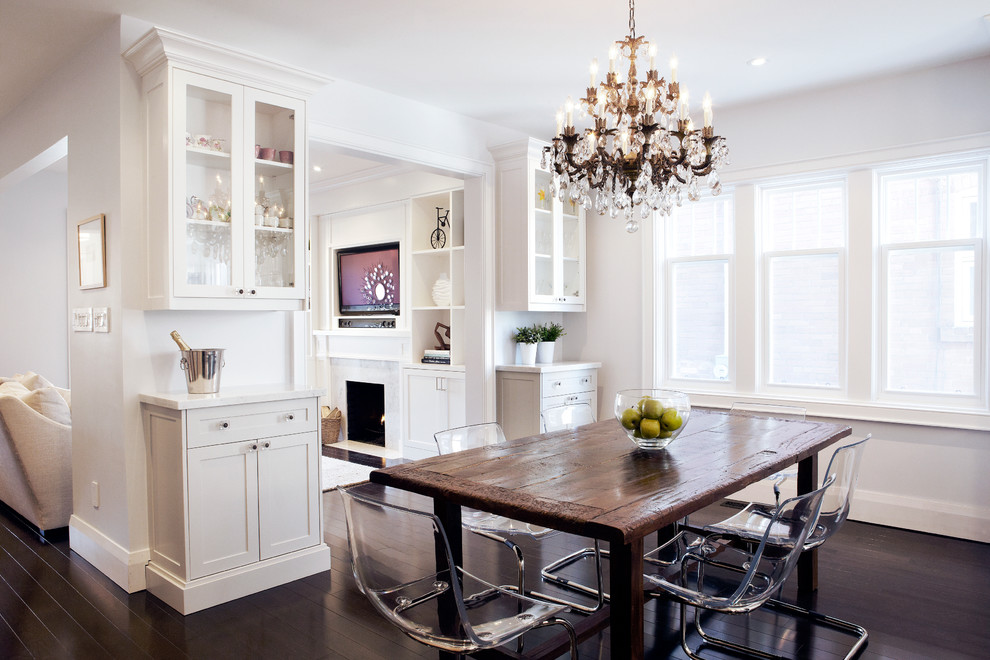 Dining room - rustic dining room idea in Toronto with white walls