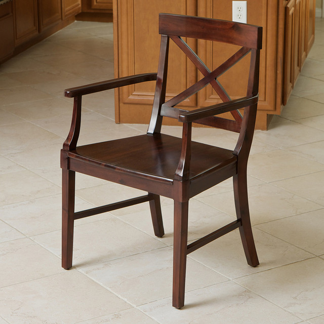 memphis armed crossback wood dining chair modern