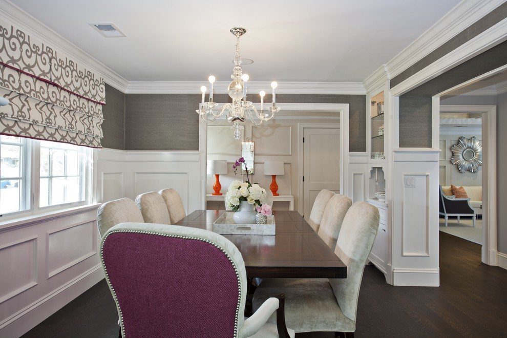 Elegant dark wood floor and brown floor enclosed dining room photo in San Francisco with gray walls and no fireplace