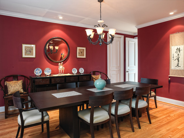 Contemporary dining room idea in San Francisco with red walls. Dark Dining Table   Houzz