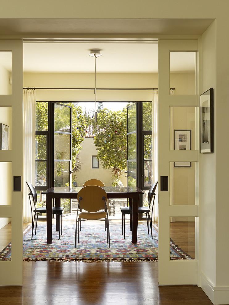 Dining room - transitional brown floor dining room idea in San Francisco