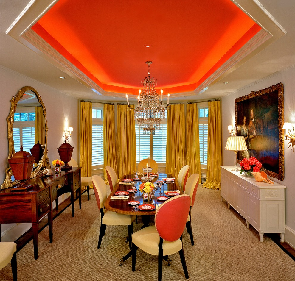 Inspiration for a timeless dark wood floor dining room remodel in Miami with white walls