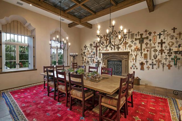 Mexican Hacienda Mediterranean Dining Room Santa