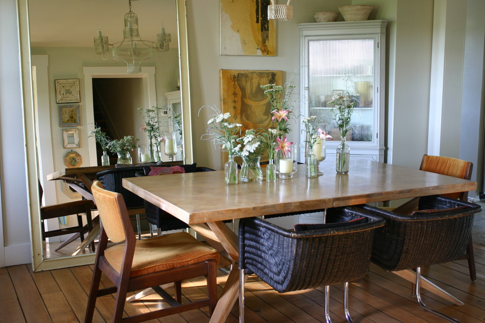Example of a cottage chic medium tone wood floor dining room design in Chicago with beige walls