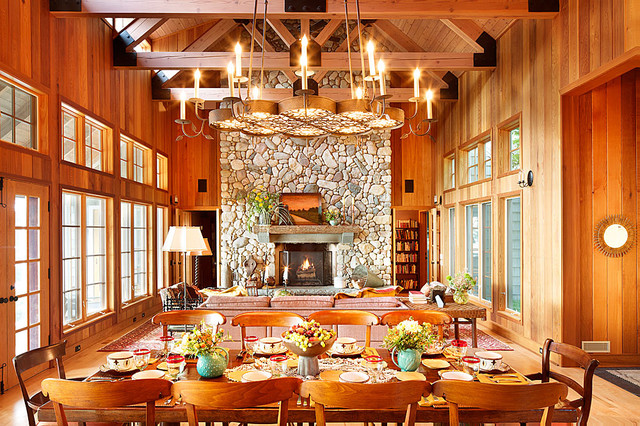 Michigan Lake House rustic-dining-room