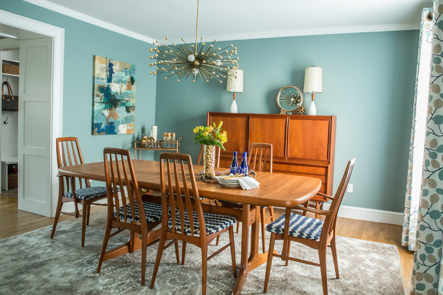mid century modern dining room transitional dining room providence by blakely interior. Black Bedroom Furniture Sets. Home Design Ideas