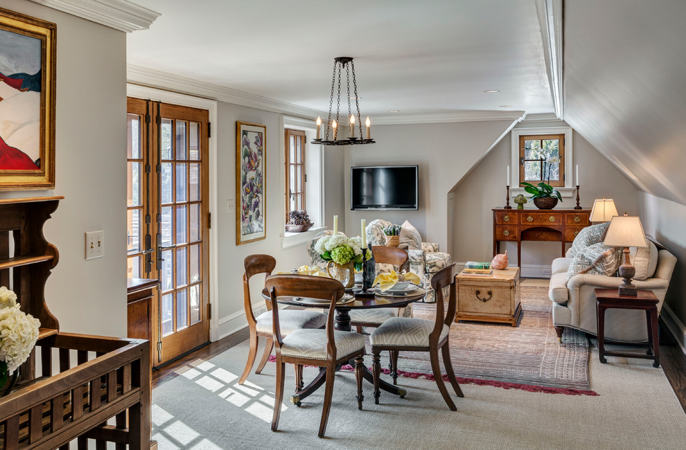 Inspiration for a french country dark wood floor dining room remodel in New York with gray walls and no fireplace