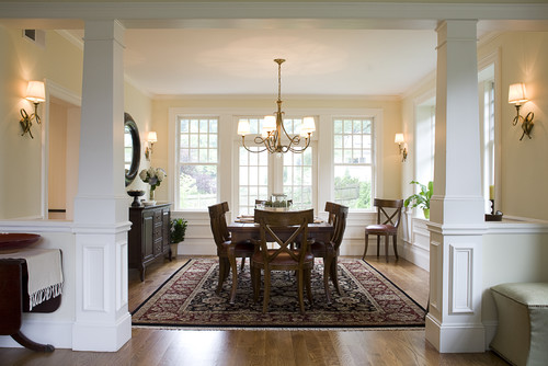 Dining room furniture arrangement - traditional