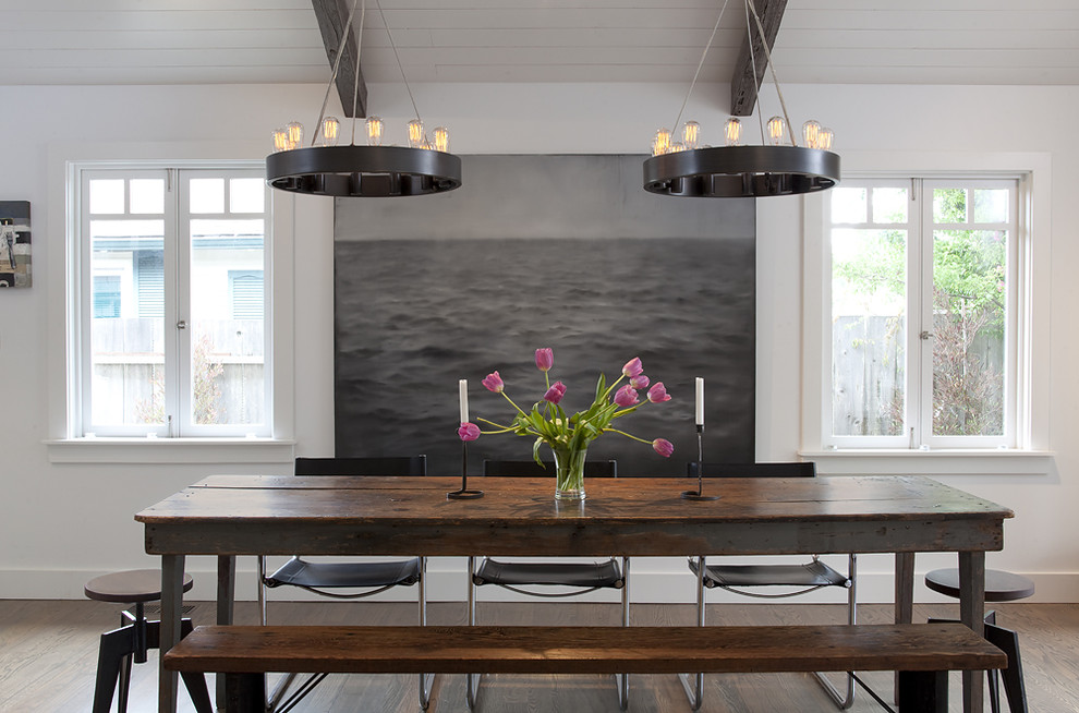 Inspiration for a contemporary dark wood floor dining room remodel in San Francisco with white walls