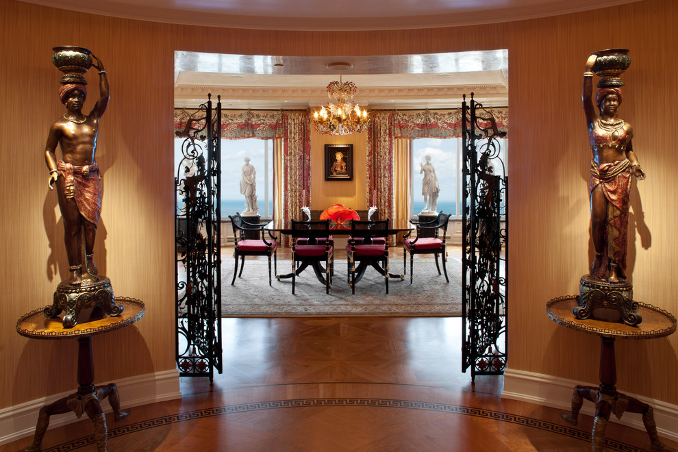 Example of a tuscan dining room design in Milwaukee