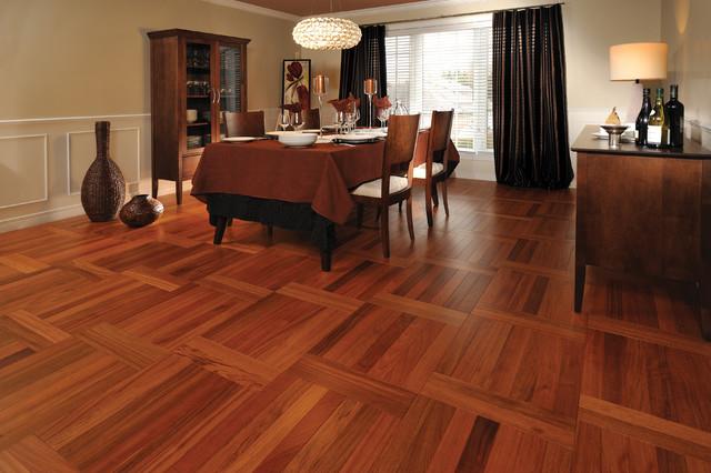 Mirage Brazilian Cherry Jatoba Herringbone Natural Engineered Hardwood  Flooring Contemporary Dining Room