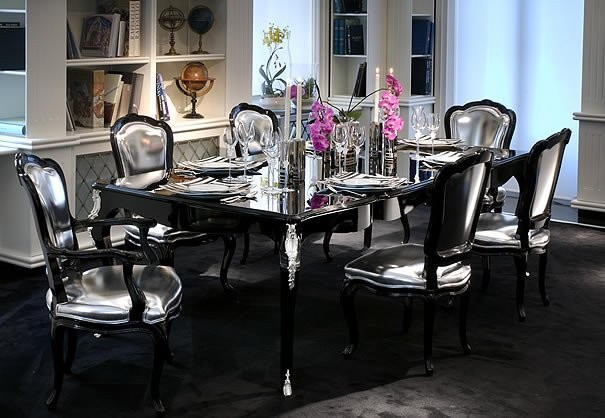 Mirrored furniture in the interior of you hause traditional dining room - Black and silver dining room set designs ...