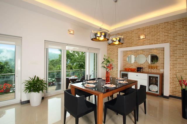 Trendy Dining Room Photo In Bengaluru