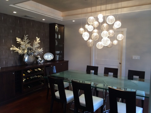 mod chandelier contemporary dining room new york contemporary dining room with chandelier amp high ceiling in