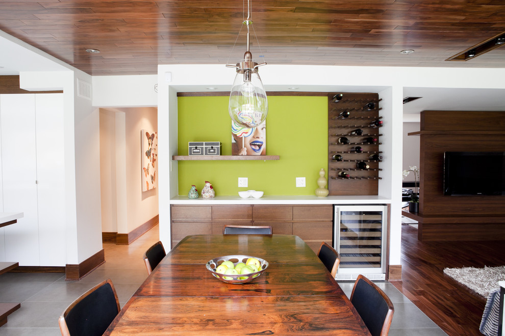 Example of a trendy great room design in Toronto with green walls