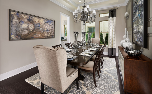 Model home interiors transitional dining room other for Model home dining room
