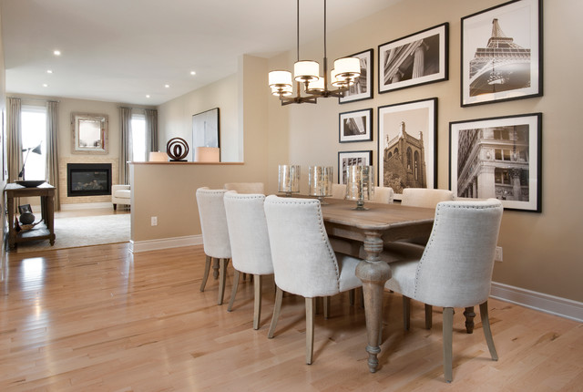 Model homes transitional dining room for Model home dining room